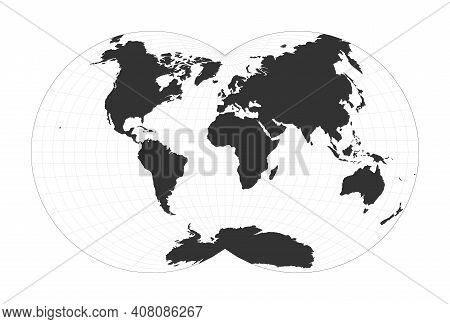 Map Of The World. Van Der Grinten Iv Projection. Globe With Latitude And Longitude Net. World Map On