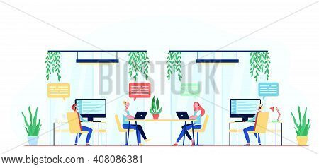 Hotline Operators Consulting Clients Flat Vector Illustration. Cartoon Call Center Managers Working