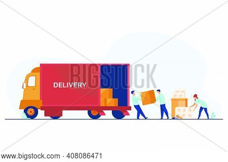 Logistic Workers Delivering Meds. Warehouse Employees Loading Truck With Pills Flat Vector Illustrat