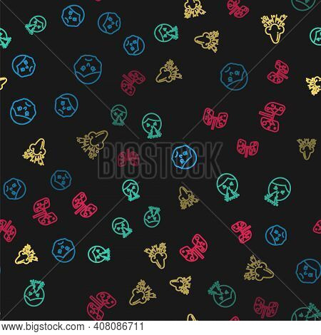 Set Line Inflammation On Face, Handkerchief To His Runny Nose, Runny And Lungs On Seamless Pattern.