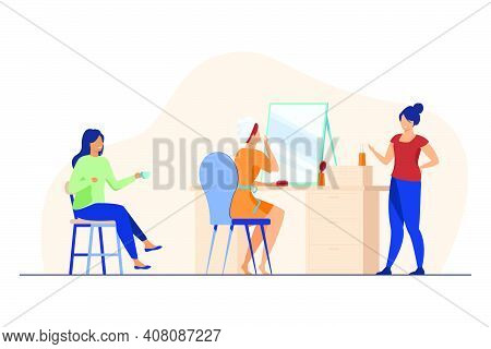 Woman Applying Makeup While Chatting With Female Friends. Girls Preparing For Party Together Flat Ve