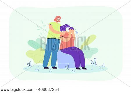 Woman Comforting Crying Friend And Touching Her Shoulders. Girl Suffering From Anxiety, Loneliness,