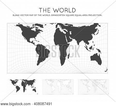 Map Of The World. Gringorten Square Equal-area Projection. Globe With Latitude And Longitude Lines.