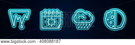 Set Line Icicle, Calendar And Sun, Cloud With Rain And Eclipse Of The. Glowing Neon Icon. Vector