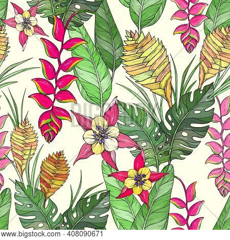 Vector Seamless Floral Pattern With Nd Drawn Jungle Leaves And Exotic Flowers. Heliconia Flowers And