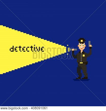 Colorful Simple Flat Pixel Art Illustration Of Smiling Policeman Holding A Flashlight In One Hand An