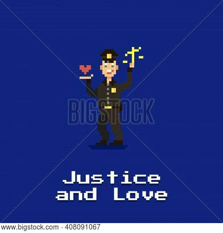 Colorful Simple Flat Pixel Art Illustration Of A Smiling Policeman Holding A Scale In One Hand And A