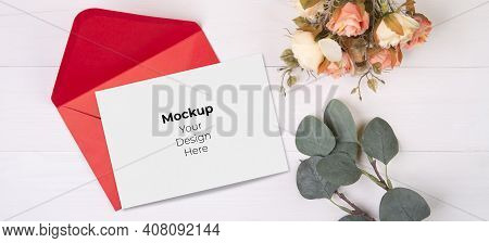 Valentine Day, Greeting Card Mockup Size A5 And Letter And Flower On Wooden Table, Postcard Blank An
