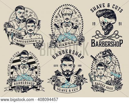 Barbershop Vintage Monochrome Emblems With Inscriptions Roses Stylish Tattooed Barbers Scissors Hair