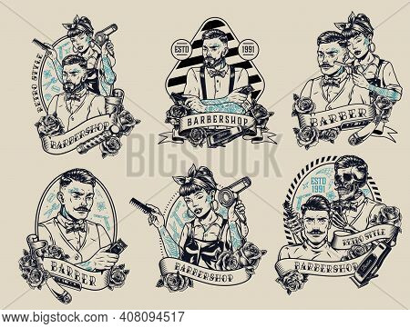 Barbershop Vintage Monochrome Labels With Inscriptions Roses Stylish Male Female And Skeleton Barber