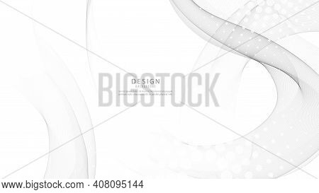 Abstract Gray Color Wave Design Banner. Grey Wave. Gray Smoke Wave. Transparent Gray Wave Element