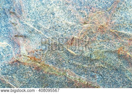 Line Stone Background. Dark Blue And Orange Granite Untreated Surface. Natural Texture. Copy Space,