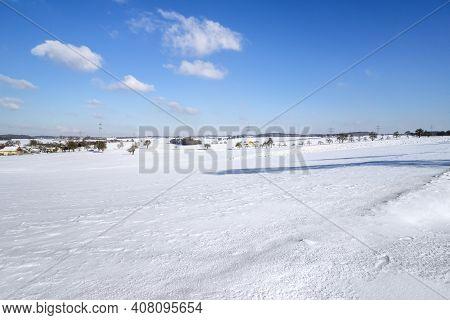Idyllic Winter Scenery Near Kupferzell In Hohenlohe, A District In Southern Germany