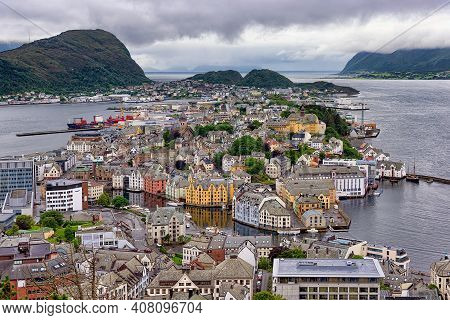 Aerial View Of Alesund Town, Norway. Alesund Is Part Of The Traditional District Of Sunnmore And Is