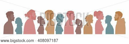 Diverse People Silhouettes, Multiracial, Multicultural Crowd Of Men And Women, Side View Portraits.
