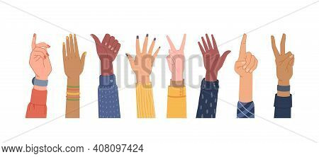 Diversity Hands Different Gestures Isolated Set. Vector Colorful Palms, Equal And Diversity Skins, M
