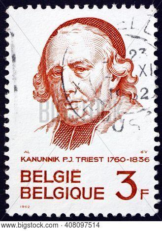 Belgium - Circa 1962: A Stamp Printed In Belgium Shows Canon Pierre-joseph Triest (1760-1836), Educa
