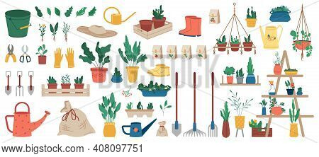 Gardener Equipment, Set Of Planting, Gardening And Farming Objects And Plants In Flowerpots Isolated
