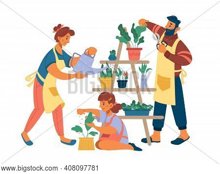 People Mother Father And Girl Planting Flowers At Home Isolated Flat Cartoon Characters. Vector Wife