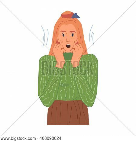 Shocked Female Character, Amazed Woman Emotion Isolated Flat Cartoon Girl In Stress. Vector Surprise