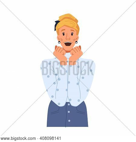 Happy Woman With Excited Facial Expression Isolated Flat Cartoon Character. Vector Surprised Or Shoc