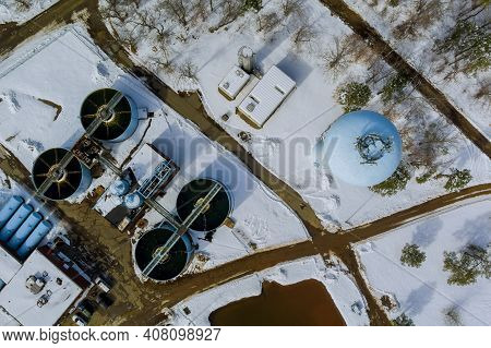 Sewage Aerial View Of A Wastewater Treatment Processing Plant Sewage Farm Surrounding Industrial Of