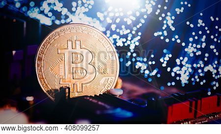 Bitcoin Cryptocurrency, Virtual Money, Blockchain Technology Concept. Golden Coin On Electronic Main