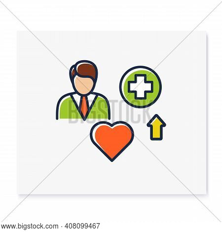Improving Health Color Icon. Personal Growth Concept. Health Improvement And Protection. Self Care.