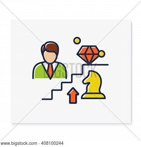 Personal Growth Strategies Color Icon. Personal Growth Concept. Self Improvement Strategies And Self