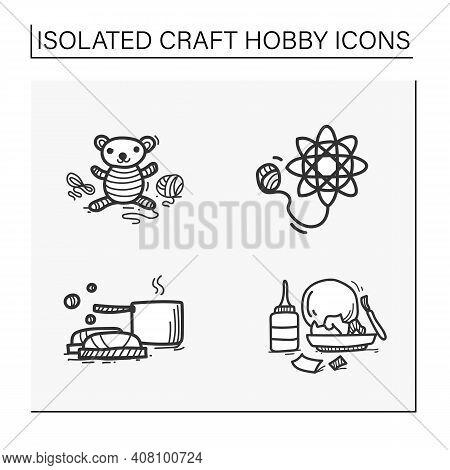Craft Hobby Set Hand Drawn Icons. Handmade And Homemade Concept. Consist Of Amigurumi, Tatting, Papi