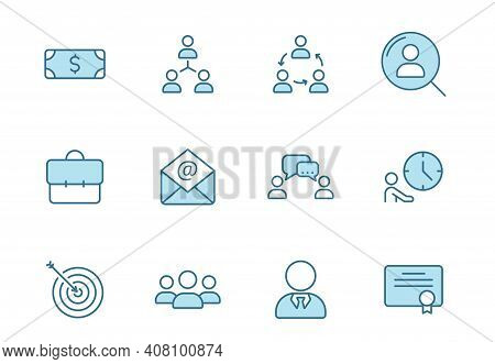 Headhunting Linear Vector Icons In Two Colors Isolated On White Background. Headhunting Blue Icon Se
