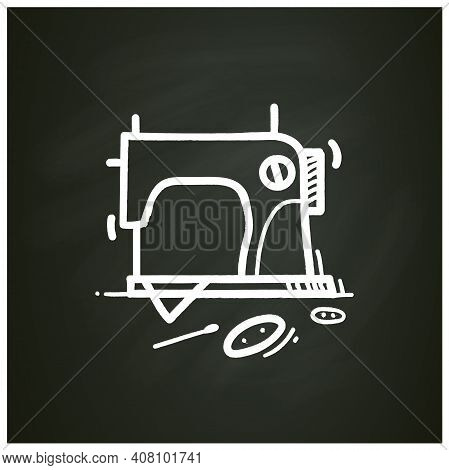 Sewing Chalk Icon.vintage Sewing Machine.handmade Fashion Activity. Relaxed Hobby Concept. Isolated