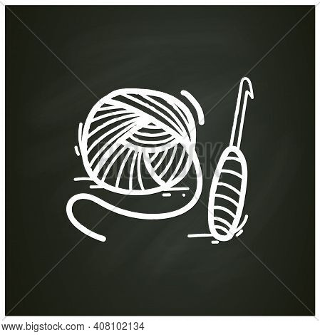 Crochet Basics Chalk Icon. Super Useful Hobby That Engage Both Hands And Stimulate The Brain. Thread