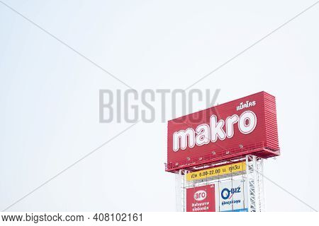 Samut Prakan, Thailand - February 15, 2021 : Sign Of Makro Store. Makro Is Public Company Limited Is