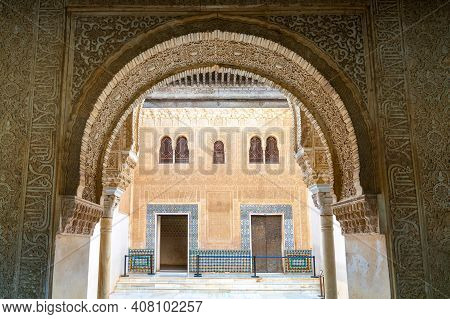 View Of Detailed And Ornate Moorish And Arabic Decoration In The Arched Doorways Of The Nazaries Pal