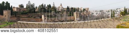 Panorama View Of The Alhambra Palaces Above Granada In Andalusia