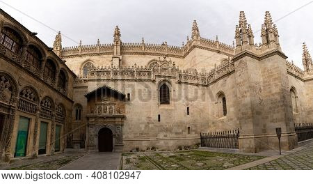View Of The Cathedral In The City Center Of Granada