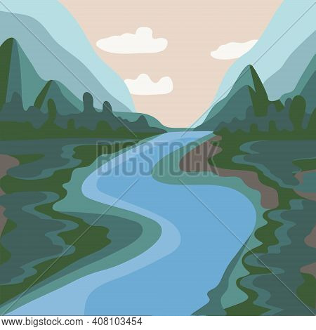 Vector Illustration Of A Spring Or Summer Landscape. Mountains With Meadows And Trees. Blue River. S
