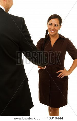 Smiling Business Woman Shaking Hand