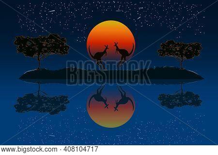 Couple Of Kangaroos In The Australian Savanna At Sunset. Two Kangaroos Silhouette Near The River Wat