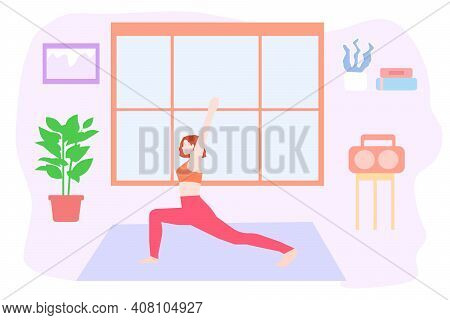 Girl Does Warm-up At Home, Vector Chart