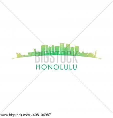 Honolulu Skyline Silhouette. Vector Design Colorful Illustration.