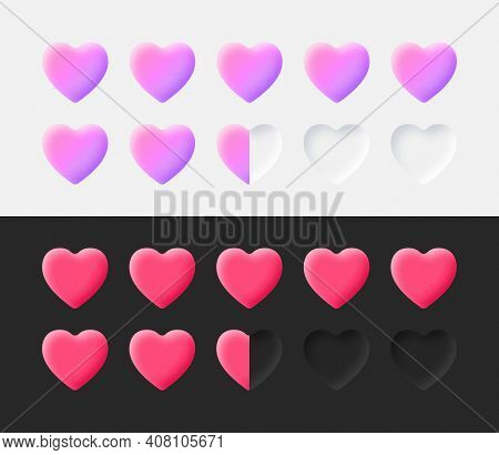 Hearts Rating Icons Set 3d Vector Neumorphic Light And Dark Style Material Design Elements On White