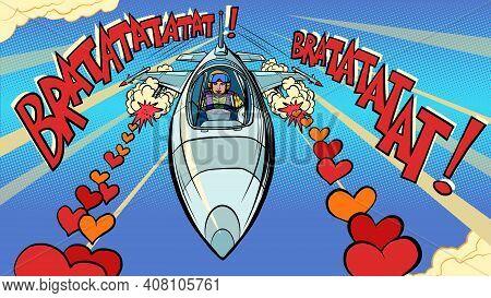 Beautiful Woman Pilot In Love Plane. Valentines Day Pop Art Retro Vector Illustration Vintage Kitsch