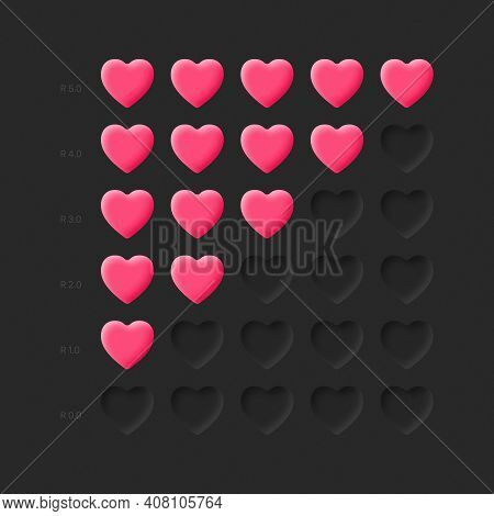 3d Hearts Rating Icons Vector Neumorphic Material Design Elements On Dark Background. Neumorphism Ui