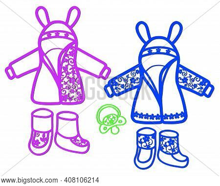 Stencil Of Children's Clothing With An Openwork Pattern For Cutting.
