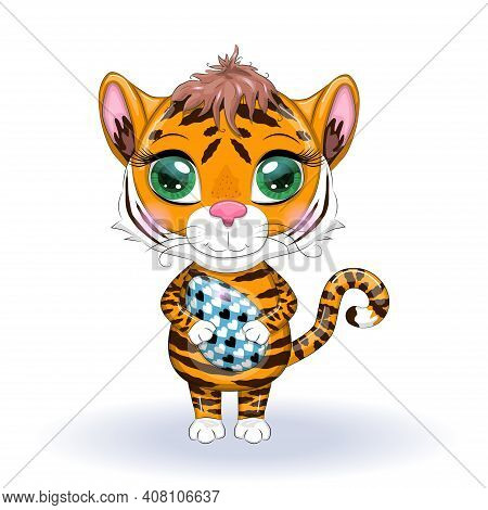 Cute Cartoon Tiger With Beautiful Eyes, Orange With Easter Egg. Tiger - Easter Bunny Concept. Chines