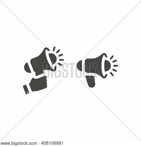 Megaphone Or Loudspeaker Black Vector Icon. Hand Holding Bullhorn Or Blow Horn Symbol