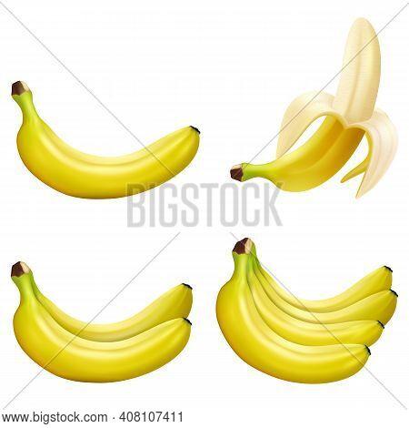 Set Of 3d Vector Realistic Illustration Bananas. Banana,half Peeled Banana,bunch Of Bananas Isolated