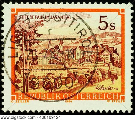 Moscow, Russia - February 12, 2021: Stamp Printed In Austria Shows Saint Paul's Abbey In Lavanttal,